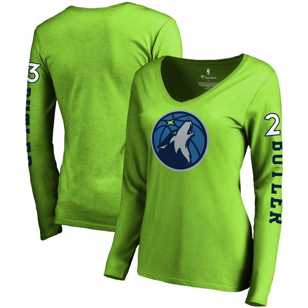 Women's Minnesota Timberwolves Jimmy Butler Fanatics Branded Neon Green Team Idol Name & Number Long Sleeve V-Neck T-Shirt