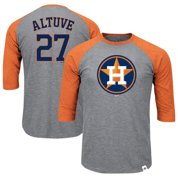 Men's Houston Astros Jose Altuve Majestic Heathered Gray/Orange Big & Tall Player Raglan 3/4-Sleeve T-Shirt