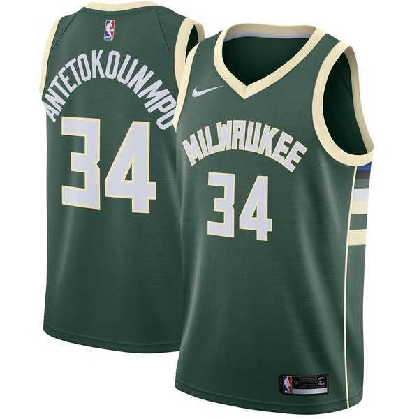 Men's Milwaukee Bucks Giannis Antetokounmpo Nike Green Swingman Jersey - Icon Edition