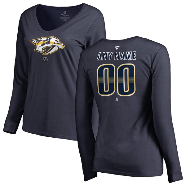 Women's Nashville Predators Fanatics Branded Navy Personalized Team Authentic Long Sleeve V-Neck T-Shirt